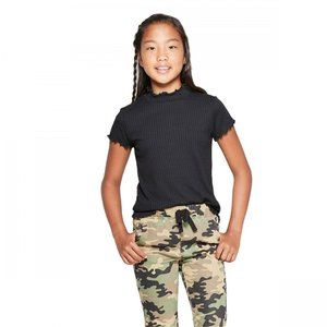 NWT Art Class Lettuce Edge Ribbed T-Shirt XS Black
